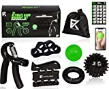 The Ultimate Hand Fitness Set - 6 in 1 Hand Workout Kit - Hand Workout Grip Strengthener, Finger Stretcher, Hand Exerciser, Stress Ball, Spiky Massage Ball for Hands & Fingers w/Workout Program