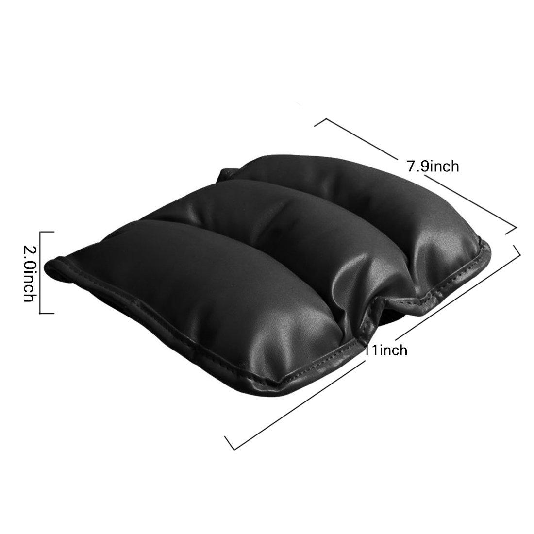 1x Universal PU Leather Car Armrest Box Mat Console Pad Cushion Cover Black
