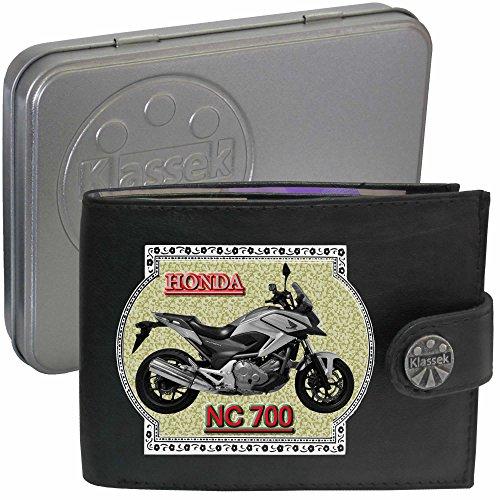 HONDA NC700 Silber Motorrad Zubehör Bike Klassek Herren Geldbörse Portemonnaie Brieftasche aus echtem Leder schwarz dqVR5