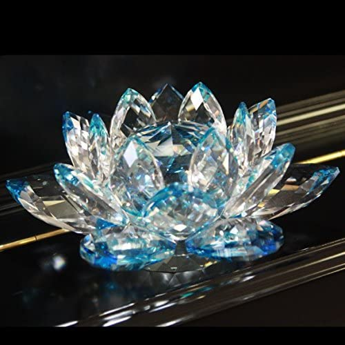 1 X 5 Blue Color Delicate Decorative Crystal Lotus Flower by HP