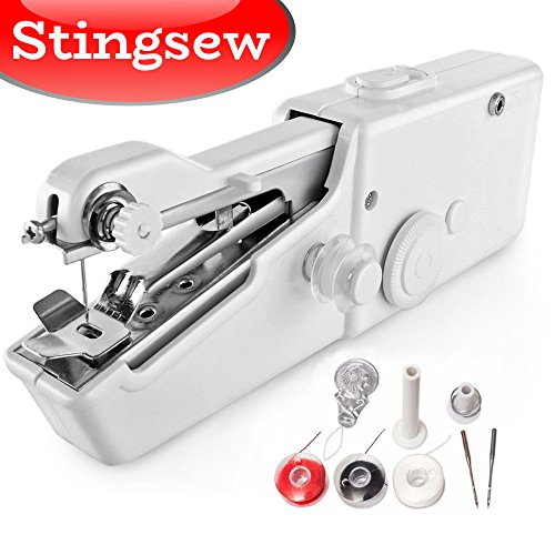 Stingsew Portable Sewing Machine, Mini Sewing Professional Cordless Sewing Handheld Electric Household Tool – Quick Stitch Tool for Fabric, Clothing, or Kids Cloth Home Travel Use