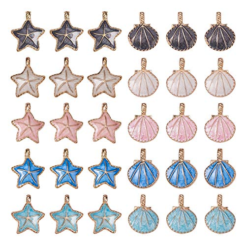 PH PandaHall 24pcs Seashell Starfish Charms Starfish Metal Beads, 20pcs Seashell Golden Tone Alloy Enamel Pendants for Jewelry Making and Crafting, 11 Colors