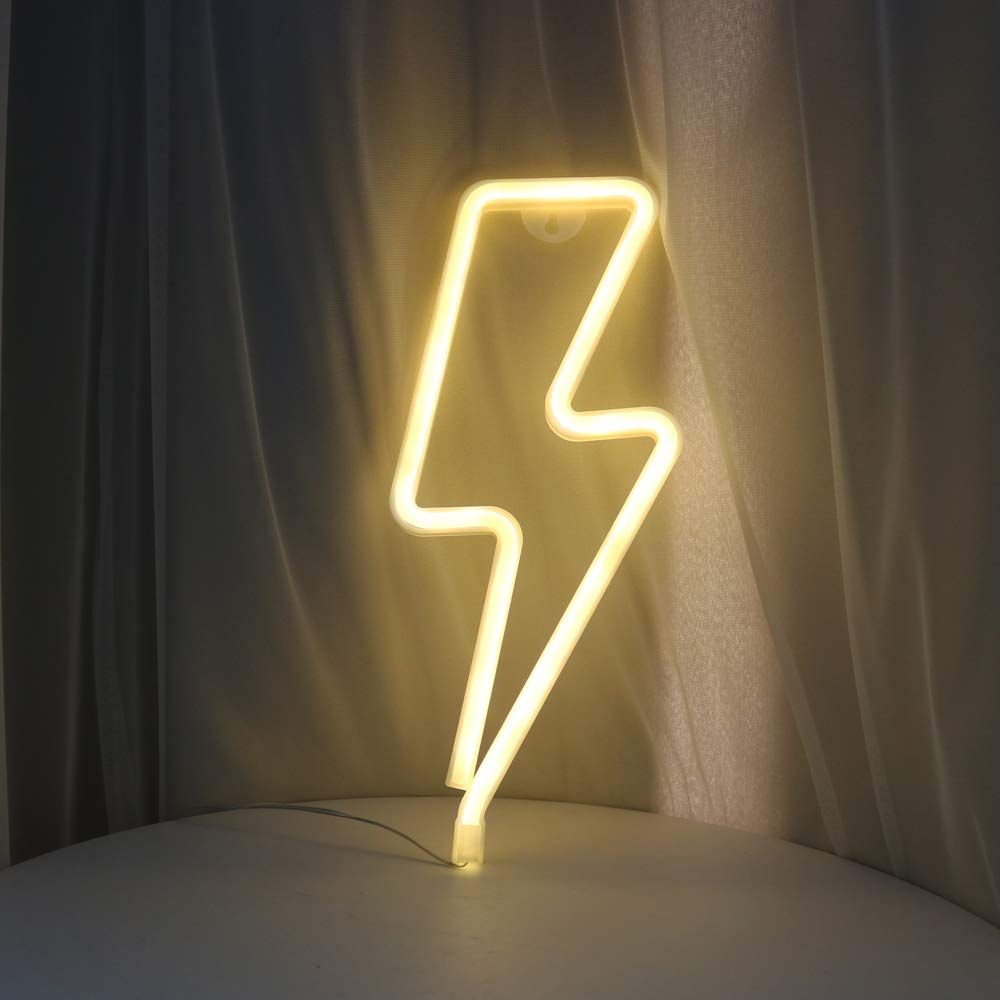 DELICORE Decorative LED Lightning Shaped Neon Night Light Warm White Lamp-Neon Night Light Children's room Party Christmas Wedding Decoration