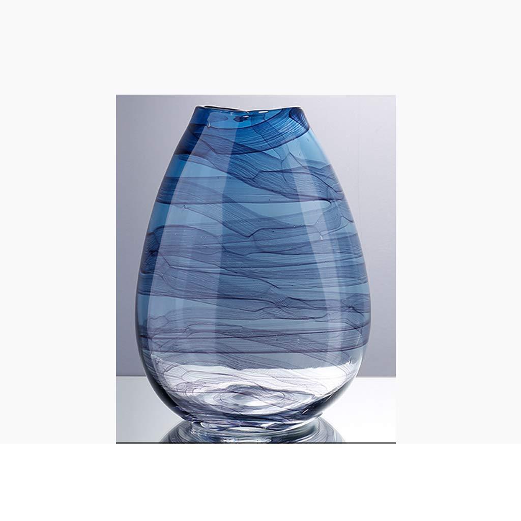 青いガラス花瓶家の花瓶の装飾/水耕植物コンテナ/ハンドメイド JSFQ (Size : 14×20.5×28cm) B07QK9ZNC3  14×20.5×28cm