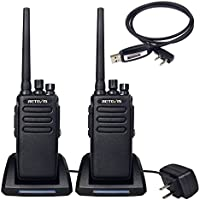 Retevis RT81 2 Way Radio 10W IP67 Waterproof UHF 400-470 MHz 32 Channel Walkie Talkies(2 Pack) with Programming Cable(1 Pack)