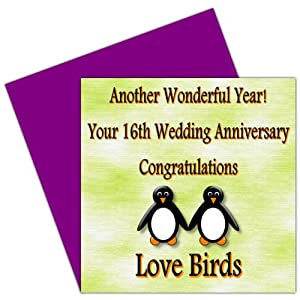 on your 16th wedding anniversary card 16 years holloware anniversary rosie posie penguin design for family friends