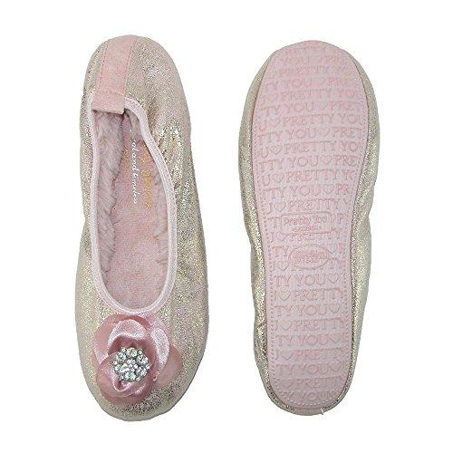 Pretty You London Women's Ballerina Slipper with Flower Pink KGuoZq6