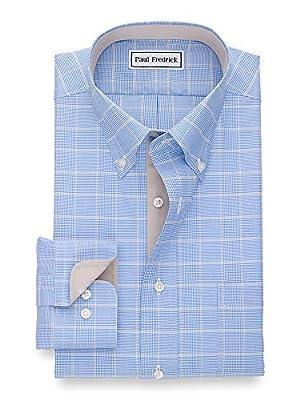 Paul Fredrick Men's Tailored Fit Non-Iron Cotton Plaid Button Down Dress Shirt