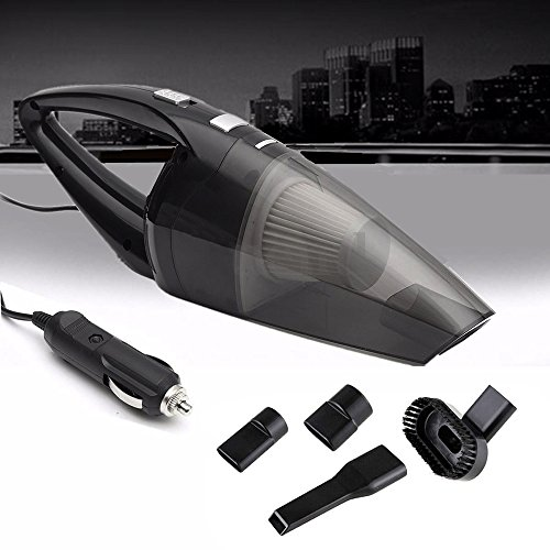 WarmCare Car Vacuum Cleaner 120W 12V Mini Wet Dry Portable High Power Suction Handheld Automotive Cleaners Tools Car Truck VAN with 16.4FT (5M) Cord Multiple Attachments Black by WarmCare (Image #1)