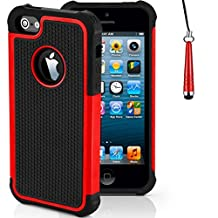 Case for Apple iPhone SE Shockproof Phone Cover with Screen Protector / iCHOOSE / Red