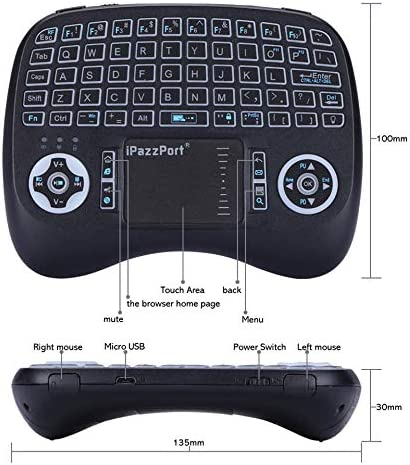 Color: English Calvas 21TL RGB Backlit English Russian Spanish 2.4GHz Wireless Keyboard Air Mouse with battery Touchpad For Android TV Box Mini PC