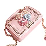 ZHANGVIP Women Mini Bead Floral Package Coin Pocket Single Shoulder Bags (Pink)