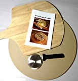 Pizza Chef's Gift Pack Includes Rada Pizza Stone (6001), Wooden Pizza Peel, Rada Pizza Cutter (W221) and Pizza Dough Recipe Booklet: Bundle of 4 items