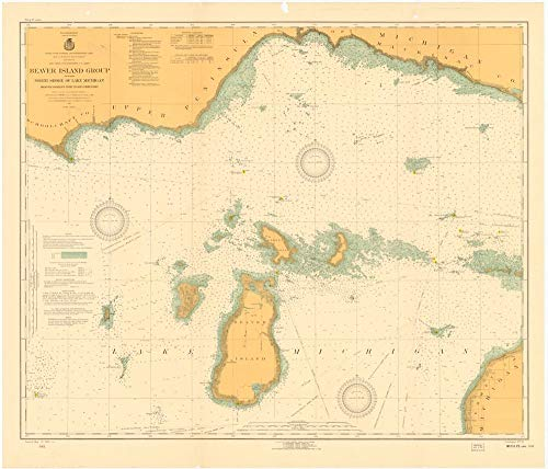 - Vintography Gallery Wrap Art Canvas 18 x 24 Image of 1923 Nautical Chart Beaver Island Group Including North Shore of Lake Michigan from WAUGOSHANCE Point to SEUL CHOIX Point by Lake Survey MI
