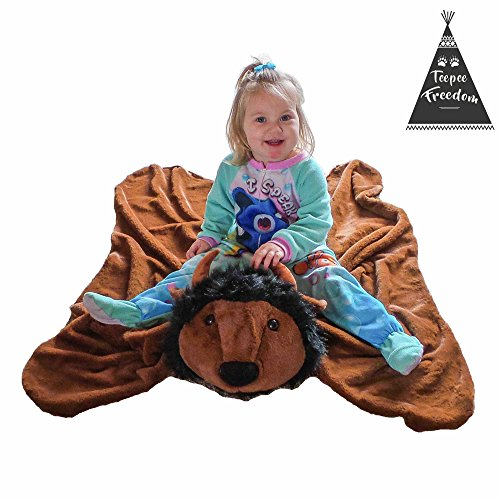 Buffalo Animal Blanket for Kids - Large Kids Throw Area Rug - Toddler Teepee Play Mat by Teepee Freedom
