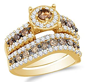 Size 9 - 10K Yellow Gold Chocolate Brown & White Round Diamond Halo Circle Bridal Engagement Ring & Matching Wedding Band Two Piece Set - Prong Set Solitaire Center Setting Shape with Channel Set Side Stones - Curved Notched Band (1.70 cttw.)
