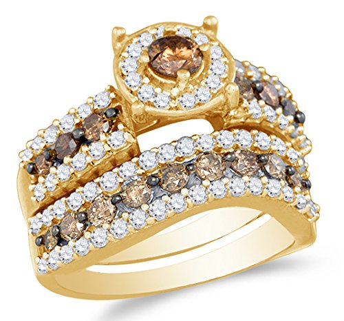 Size 7 - 10K Yellow Gold Chocolate Brown & White Round Diamond Halo Circle Bridal Engagement Ring & Matching Wedding Band Two Piece Set - Prong Set Solitaire Center Setting (Chocolate Wedding Rings)