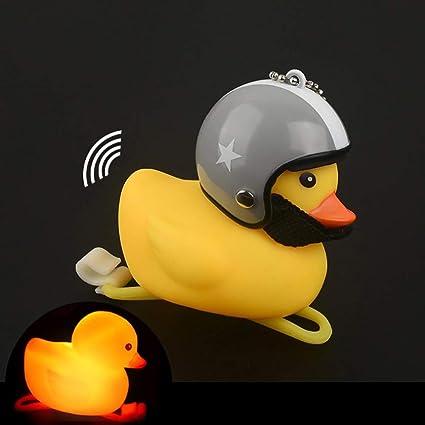 1 Stück Cartoon Gelb Silica Kleine Ente Helm Kopf Fahrrad Licht Glänzende Mountainbike Lenker Ente Kopf Licht Glocke Zubehör Sport Freizeit
