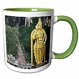 3dRose Albom Design Travel - Lord Murugan Statue at Entrance to Batu Caves, Kuala Lumpur, Malaysia - 11oz Two-Tone Green Mug (mug_164774_7)