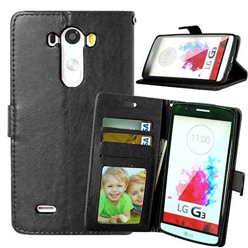 LG G3 Case, LG G3 Wallet Case, Mellonlu Premium PU Leather Flip Case [Card Slot Case] [Magnetic Closure] Stand Cover for LG G3 (Black)