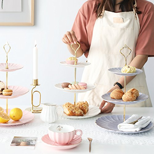 Pukka Home 3 Tier Ceramic Cake Stand British Royal Series Wedding Dessert Cupcake Stand for Tea Party Serving Platter (Pure White) by Pukka Home (Image #3)