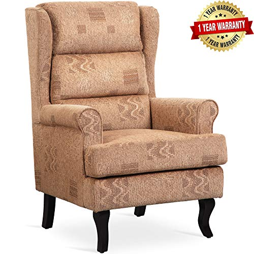 Highback Club Chair Upholsetered Wingback Armchair Accent Chair Comfy Living Room Furniture Fabric (Comfy Wingback Chair)