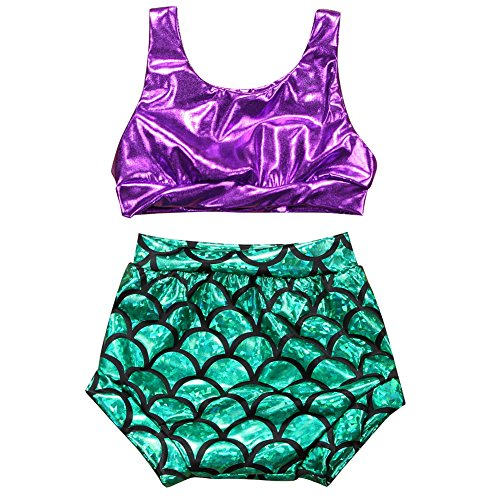 ONE'S Todder Baby Girls Mermaid Crop Top & Short Two Piece Bikini Swimsuit (Purple, 6-12 Months)
