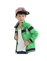 XiaoYouYu Big Boy's Stand Collar Colorblock Athletic Jacket