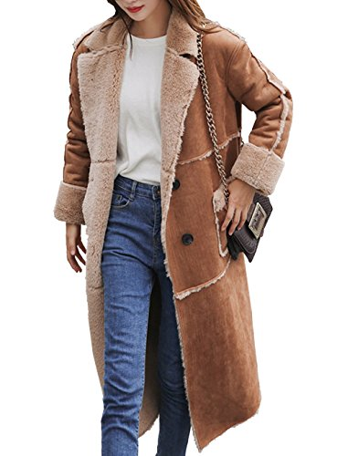 Aishang Women Double Breasted Patchwork Pocket Faux Suede Leather (Fur Suede Coat)