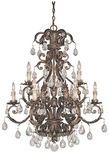 Savoy House 1-5307-9-8 Chandelier with Clear Crystals Shades, Brown Tortoise Shell with Silver Finish