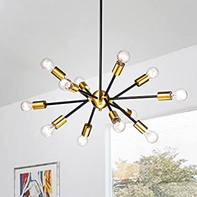 Jojospring Lorena Sputnik Black Base Metallic Gold Finish Industrial Chandelier