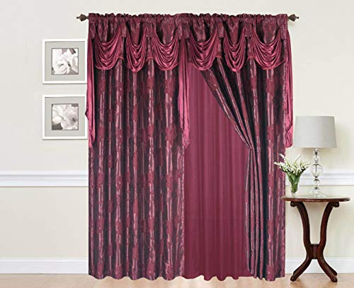 - Rod Pocket Window 84 Inch Length Curtain Drape Panels w/ attached Valance Scarf + Sheer Backing + 2 Tassels - 84