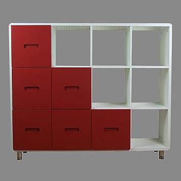 Regal Schrank Kommode Weiß Schubladen Bücherregal Rot Sideboard Homestyle4u Bücherschrank OXZkuPi