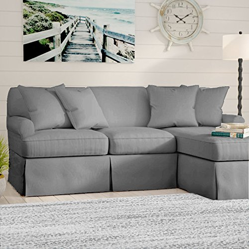Fabric Slipcovered Loveseat - Sunset Trading SU-117678-391094 Horizon Slipcovered Chaise  -Performance White Sleeper Sofa, Small, Gray