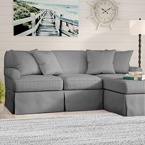 Fabric Slipcovered Loveseat - Sunset Trading SU-117678-391094 Horizon Slipcovered Chaise -Performance White Sleeper Sofa, Small, Gray
