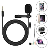 Clip On Microphone - Lav Mic - for GoPro Hero 3 3+ 4 - iPhone - iPad - Computer - PC - Laptop - Lavalier Lapel Microphone - SOONHUA 3.5MM Mini Condenser Mic for YouTube Video - Podcast Recording - Gaming(6FT Cord)