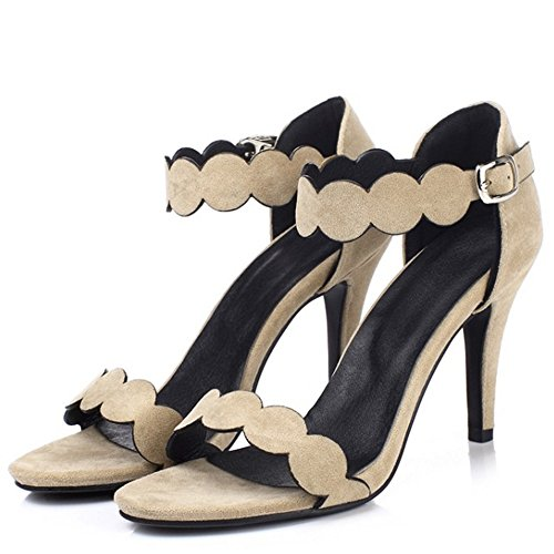 COOLCEPT Mujer Elegant Tacon de Aguja Sexy Fiesta Vestir Sandalias Ankle Strap Albaricoque