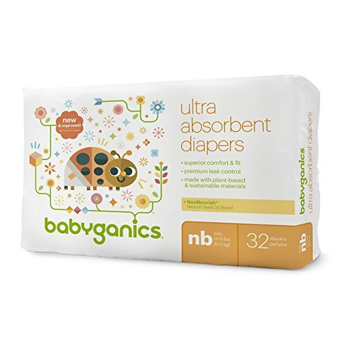 Babyganics Ultra Absorbent Baby Diapers, Newborn 32 Count (2 Pack)
