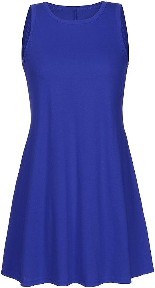 Dresses for Women Casual Fall,Womens Sleeveless Lace Tunic Dress Plus Size Swing Dress T Shirt Dress with Pockets