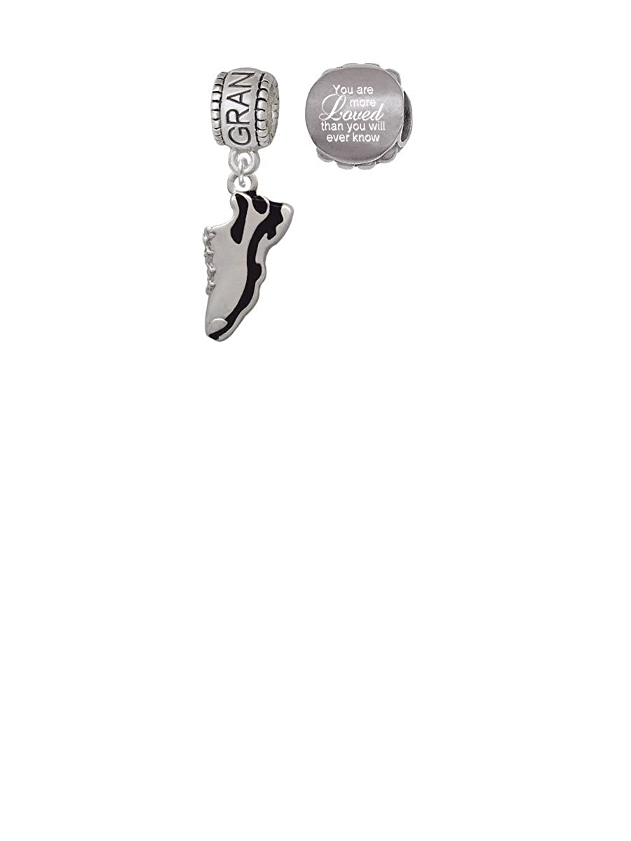 Black Running Shoe Family Charm Bead with You Are More Loved Bead Set of 2