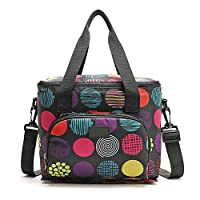 HOUTBY 10L Insulated Lunch Bag Large Soft Cooler Tote Bag Adult Lunch Box with Shoulder Strap for Men Women (Dot)
