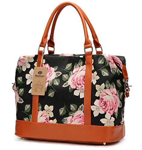 ef97d1dfcf9 Women Ladies Canvas Weekender Bag Overnight Carry-on Tote Duffel in Trolley  Handle (Flower