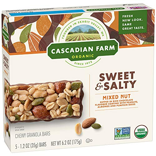 - Cascadian Farm Organic Mixed Nut Sweet & Salty Chewy Granola Bars 5-1.2 oz. Bars