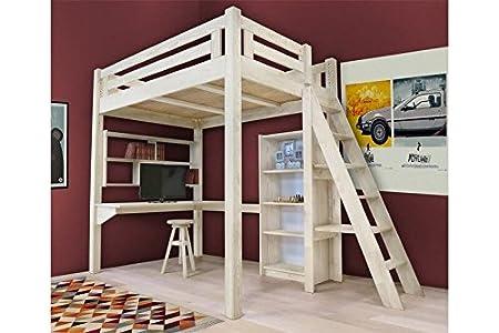 Etagenbett Für Erwachsene Mit Treppe : Abc meubles hochbett alpage mit treppe alpagech getöntes