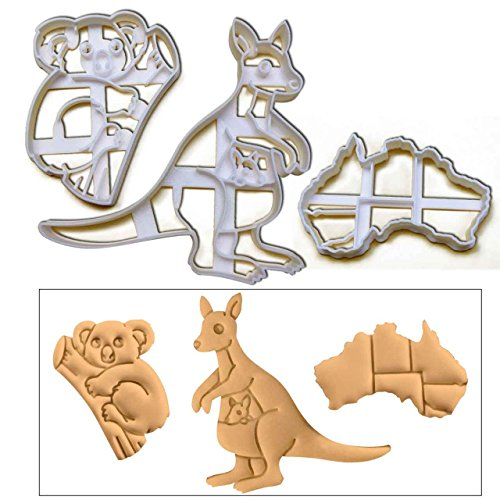 SET of 3 Australia theme cookie cutters (Koala, Kangaroo and Map of Australian Continent cookie cutters), 3 pcs, Ideal for Australia theme party (Continents Cookie Cutters)