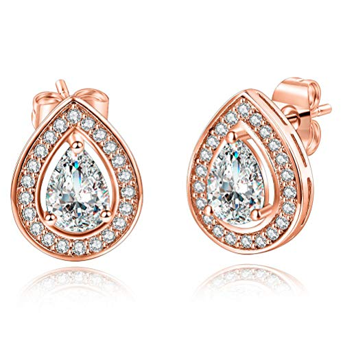 Rose Gold Plated Cubic Zirconia Shining Classic Halo CZ Teardrop Stud Earrings for Women Hypoallergenic