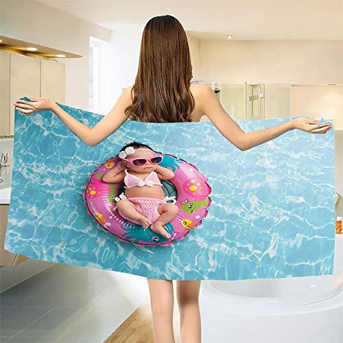 smallbeefly Baby Bath Towel Nine Days Old Girl Sleeping on Tiny Inflatable Ring Crocheted Bikini Sunglasses Bathroom Towels Tan Multicolor Size: W 31.5