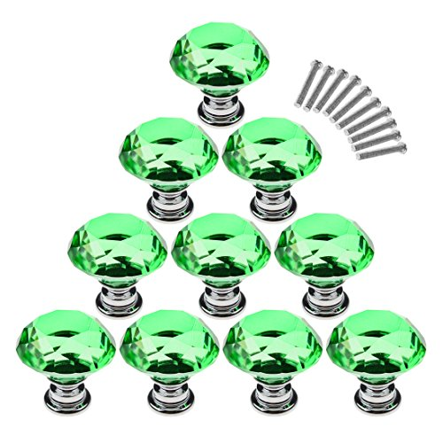 Cabinet Knobs,YIFAN 10Pcs 30mm Crystal Glass Diamond Shape Cabinet Knobs Cupboard Drawer Pull Handles - Green