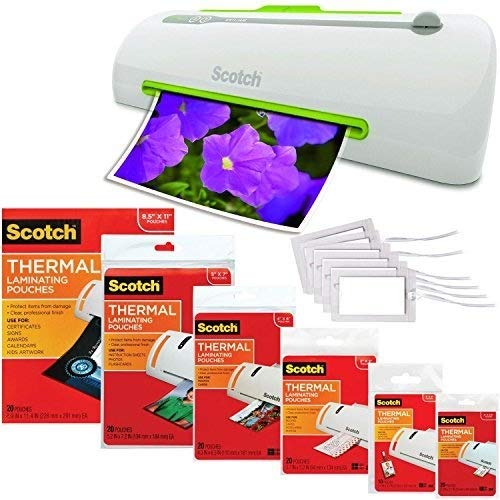 Scotch Pro Thermal Laminator, Never Jam Technology Automatically Prevents Misfed Items, 2 Roller System (TL906) - Bundled with Each Size Laminating Pouch + Luggage Tags