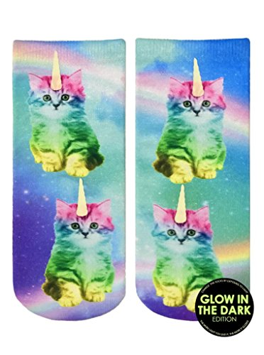 Unicorn Kitty Rainbow Women's Polyester Stretch Printed Glow in the Dark Ankle (Glow In The Dark Outfit)